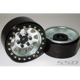 1.9 Steel D hole Beadlock Wheels (Silver)