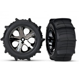 "Tires & wheels, assembled, glued (2.8"") (All-Star black chrome wheels, paddle tires, foam inserts) (rear) (2) (TSM rated)"