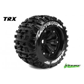 "Louise RC MT-PIONEER 1-8 Monster Truck Tire Set Mounted Medium Black 3.8"" Rims 1/2""-Offset  1 Pair"