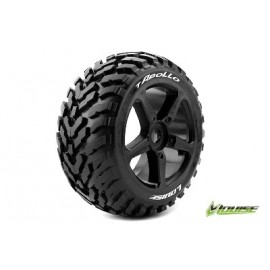Louise RC T-APOLLO 1-8 Truggy Tire Set Mounted Soft Black Spoke Rims 0-Offset Hex 17mm 1 Pair