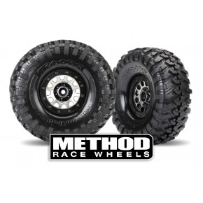 "Tires and wheels, assembled (Method 105 black chrome beadlock wheels, Canyon Trail 2.2"" tires, foam inserts) (1 left, 1 right)"