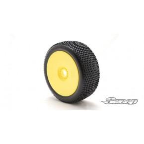 EXP SQUARE ARMOR White(Medium) Preglued tires/Yellow 4pcs