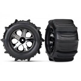Tires & wheels, assembled, glu2.8 Paddle(Al-Star Black chrome)