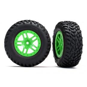Tires & wheels, assembled, glued (SCT Split-Spoke green wheels, SCT off-road racer