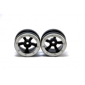 Beadlock Wheels PT-Safari Black/Silver 1.9 (2 pcs)