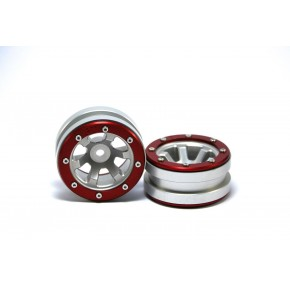 Beadlock Wheels PT- Claw Silver/Red 1.9 (2 pcs)