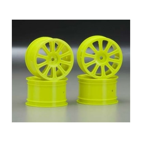 Rulux - 1/10th RC10B4 rear wheel (yellow) - 4pc