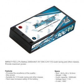 IMPACT FD2 Li-Po Battery 3300mAh/7.4V 100C Hard Case (1:12 Racing size)