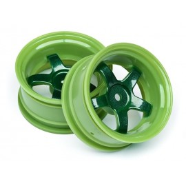 Llantas 1/10 Work Meister S1 verdes (6mm Off) (2pzs)