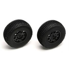 SC10 Front Tire/Wheel combo, black (non-hex)