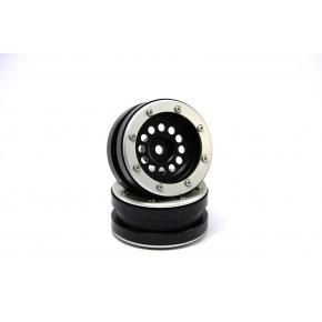 Beadlock Wheels PT-Bullet Black/Silver 1.9 (2 pcs)