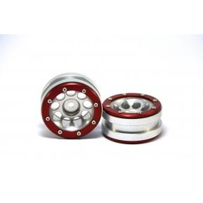 Beadlock Wheels PT- Ecohole Silver/Red 1.9 (2 pcs)