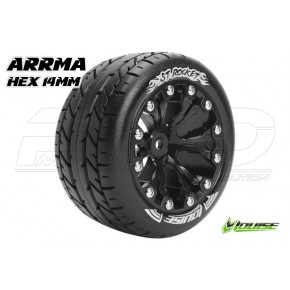 "Louise RC ST-ROCKET 1-10 Stadium Truck Tire Set Mounted Soft Black 2.8"" Rims Hex 14mm ARRMA 4X4 1-10 Front Rear 1 Pair"